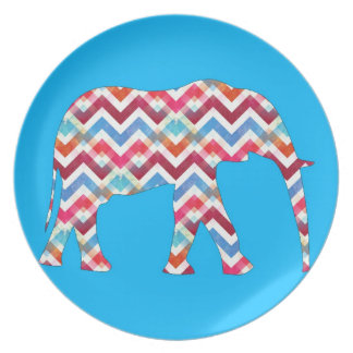 Funky Zigzag Chevron Elephant on Teal Blue Party Plate