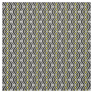 Funky Zigzag Chevron Pattern in Yellow and White Fabric