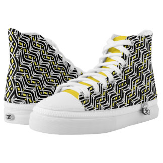 Funky Zigzag Pattern in Yellow and White High Tops