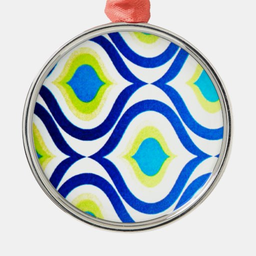 funkylicious yellow blue white retro hipster chic christmas ornaments