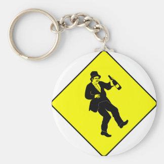 Funn Drunk Man Sign Basic Round Button Keychain