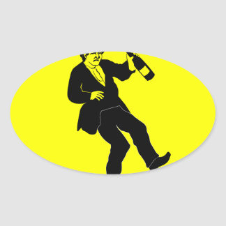 Funn Drunk Man Sign Oval Sticker