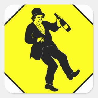 Funn Drunk Man Sign Square Sticker