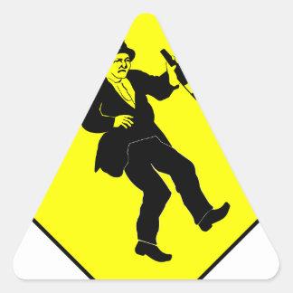 Funn Drunk Man Sign Triangle Sticker