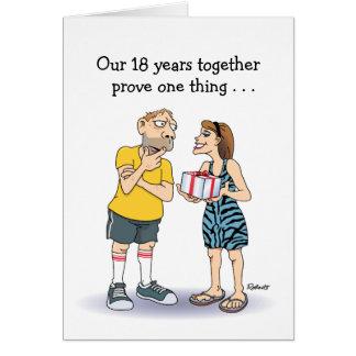 Funny 18th Wedding Anniversary cartoon: Love Greeting Card