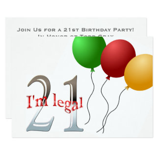 Funny 21st Birthday Party | 21 Legal Age Balloons Card