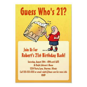 Funny 21st Birthday Party Invitation With Big Beer