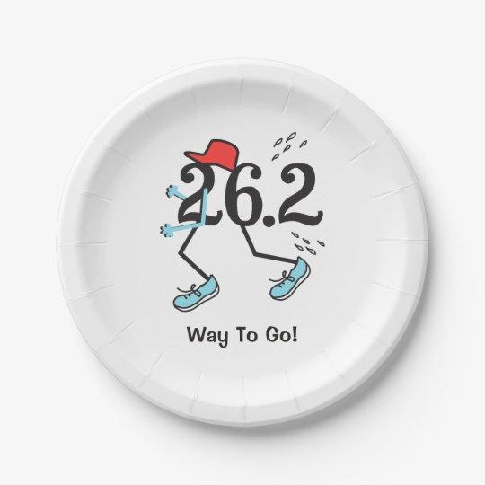 Funny 26.2 Marathoner Way to Go Marathon Runner Paper Plate