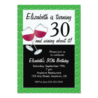 Funny 30th Birthday Wine Party Card