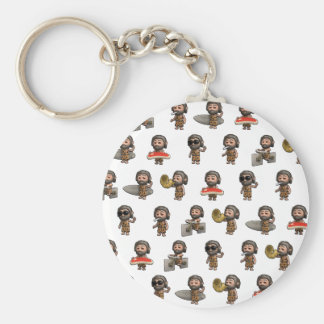Funny 3d Caveman Collection Basic Round Button Keychain