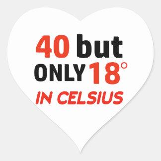 funny 40 birthday design heart sticker