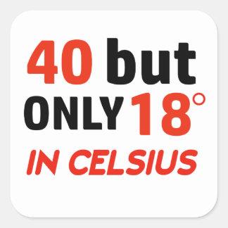 funny 40 birthday design square sticker