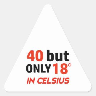 funny 40 birthday design triangle sticker