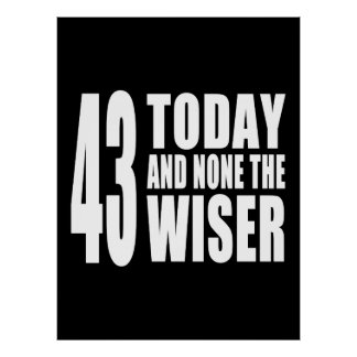 Funny 43rd Birthdays : 43 Today and None the Wiser Poster