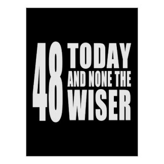 Funny 48th Birthdays : 48 Today and None the Wiser Print