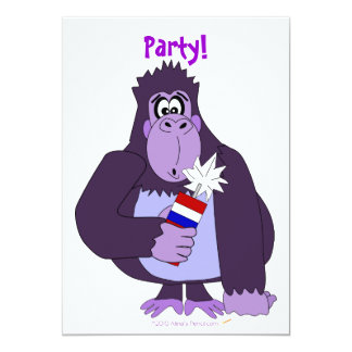Funny 4th of July Fireworks Gorilla Party Invites