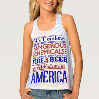 Funny 4th of July Humorous Beer Fireworks Saying Tank Top