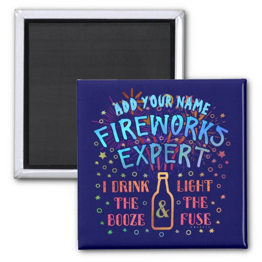 Funny 4th of July Independence Fireworks Expert V2 Square Magnet