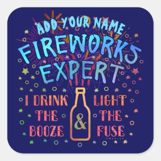 Funny 4th of July Independence Fireworks Expert V2 Square Sticker