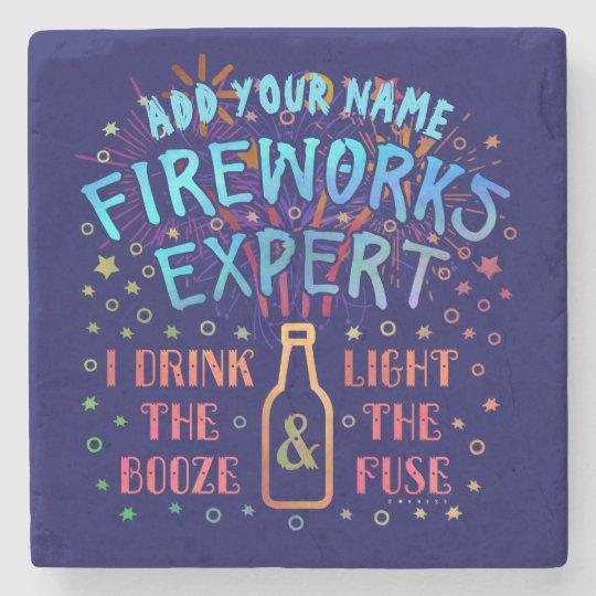 Funny 4th of July Independence Fireworks Expert V2 Stone Beverage Coaster