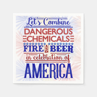 Funny 4th of July Party | Beer Fireworks Humor Disposable Napkins