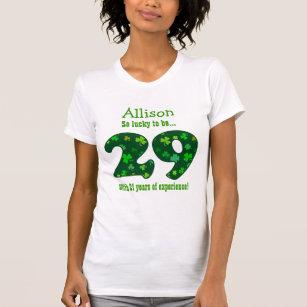Funny 50th Birthday Shamrock Number Custom Name 2 T Shirt