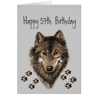 Funny, 50th Fifty Nine, Birthday Wolf, Wolves Card