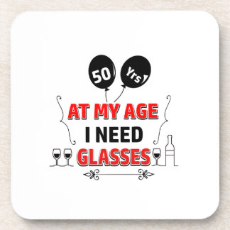 Funny 50th year birthday gift beverage coaster
