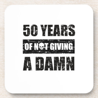Funny 50th year birthday gift beverage coasters