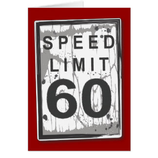 Funny 60th Birthday Speed Limit Thank You Notecard