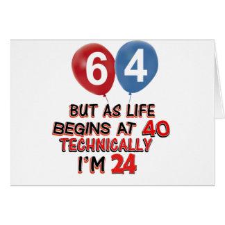 funny 64th birthday designs card