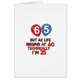 funny 65th birthday designs card