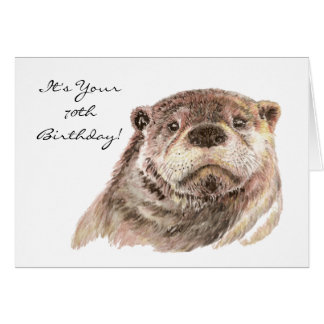 Funny 70th Birthday Cute Otter Nature, Wildlife Card
