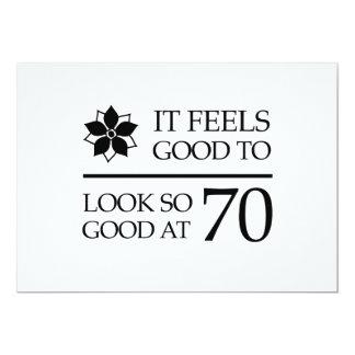 """Funny 70th Birthday (Feels Good) 5"""" X 7"""" Invitation Card"""