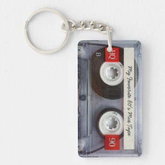 Funny 80's Cassette Tape, Personalized Double-Sided Rectangular Acrylic Keychain
