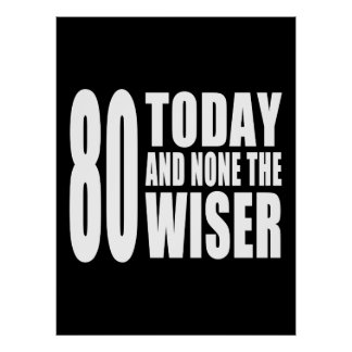 Funny 80th Birthdays 80 Today and None the Wiser Poster