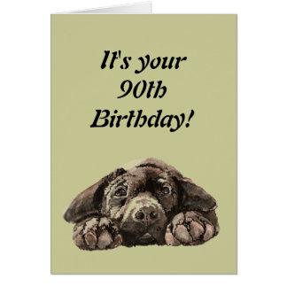 Funny 90th Birthday Customize Labrador Retriever Greeting Card