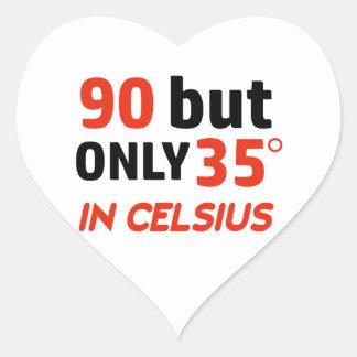 Funny 90th birthday design heart sticker