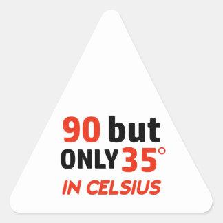 Funny 90th birthday design triangle sticker