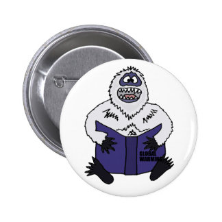 Funny Abominable Snowman Reading Global Warming 2 Inch Round Button