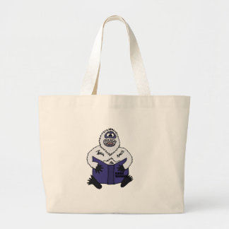 Funny Abominable Snowman Reading Global Warming Jumbo Tote Bag