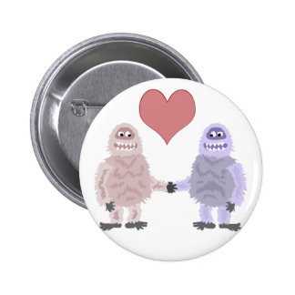 Funny Abominable Snowmen in Love 2 Inch Round Button