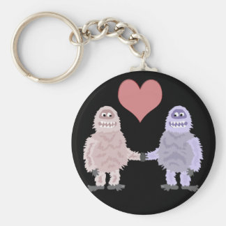 Funny Abominable Snowmen in Love Keychain