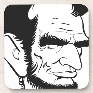 funny abraham lincoln caricature beverage coasters