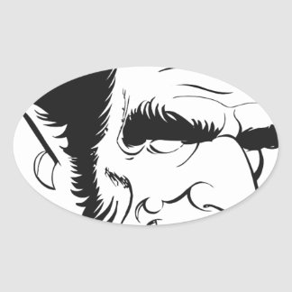 funny abraham lincoln caricature oval sticker