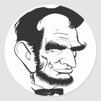 funny abraham lincoln caricature round sticker