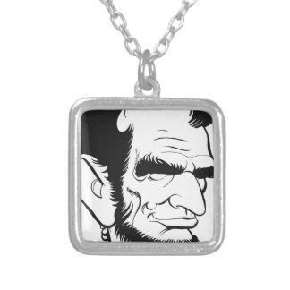 funny abraham lincoln caricature silver plated necklace
