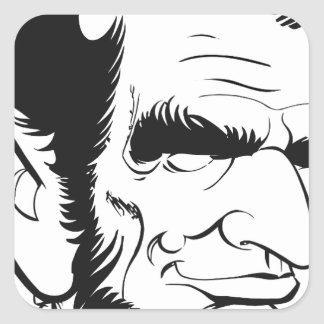funny abraham lincoln caricature square sticker