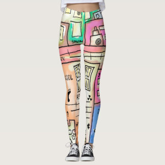 Funny abstract building doodles illustration leggings