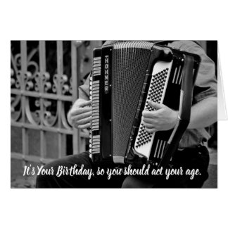 Funny Accordion Player Birthday Card